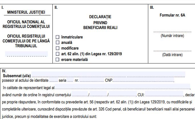 ONRC anunta ca au fost elaborate noi modele de declaratii privind beneficiarii reali