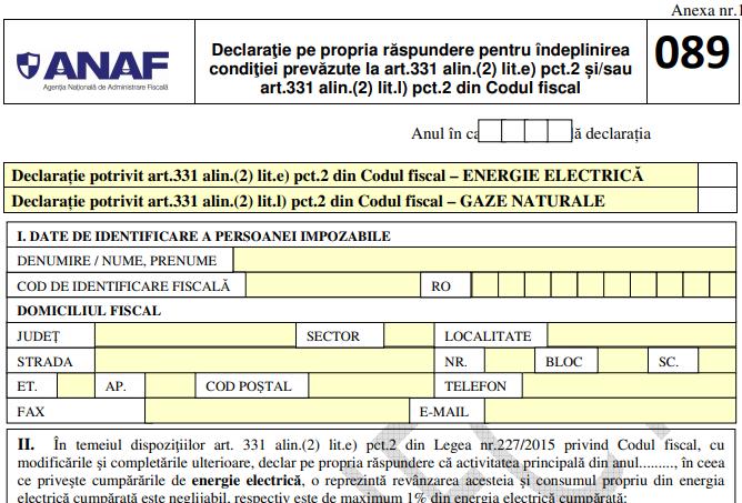 ANAF propune extinderea Declaratiei 089. Formularul va fi completat cu ajutorul unui program de asistenta si depus prin mijloace electronice