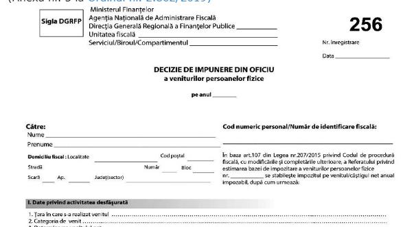 NOU! Declaratia de impunere va fi depusa si de persoanele fizice care au beneficiat de OUG 30/2020 si OUG 132/2020 (Ordinul 1251/2021)